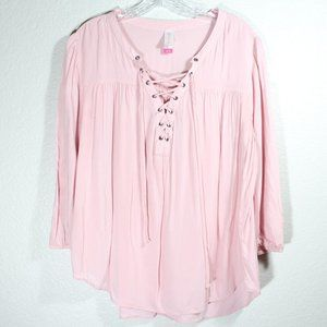 Hobo Style Front Tie Blouse High Low Top